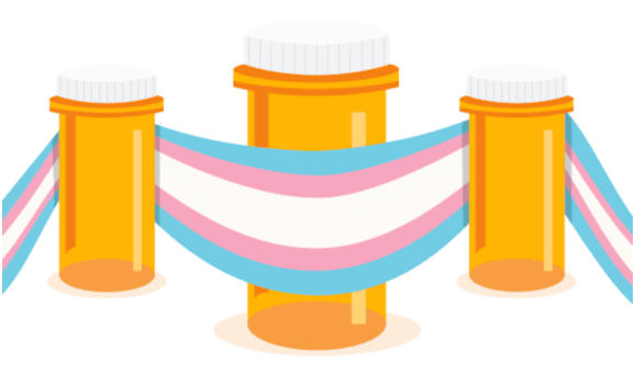 Image of the trans flag colors and medicine bottles.